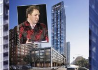 Onni Group president Rossano de Cotiis and a rendering of 369 West Grand Avenue (Credit: Brininstool+Lynch)