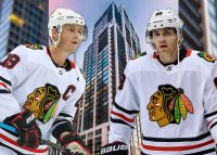 Blackhawk players Johnathan Toews (left) and Patrick Kane owned units that sold for over $6 million each this year in the star-studded No. 9 Walton tower (Credit: Getty Images)