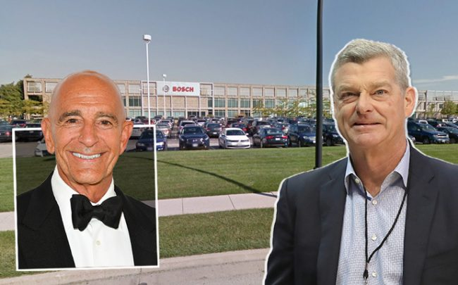Colony Capital CEO Tom Barrack, CEO of Ares Management Antony Ressler and the Mount Prospect warehouse (Credit: Getty Images and Google Maps)