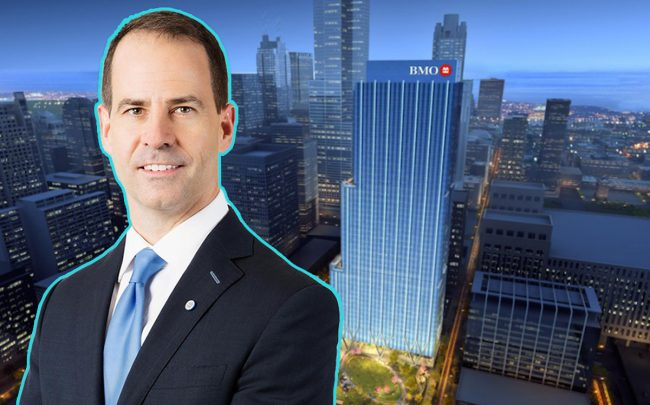 A rendering of BMO Tower at 310 South Canal Street and BMO Financial Group CEO Darryl White