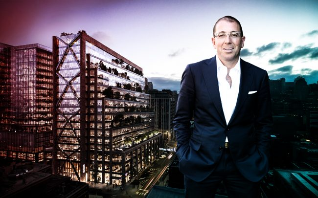 Thor Equities CEO Joe Sitt and a rendering of 800 West Fulton Market (Credit: SOM)