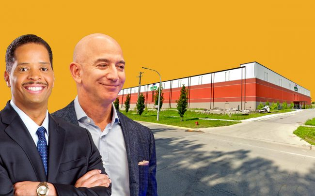 Alderman Anthony Beale (9th), Jeff Bezos and the 150,000-square-foot warehouse in Pullman (Credit: Google Maps, Getty Images, Ward09)