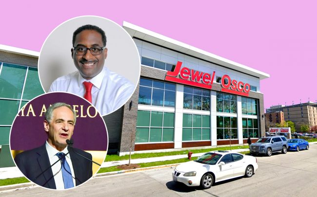 President of University of Chicago Robert Zimmer, DL3 Realty's Leon Walker and The Jewel-Osco in Woodlawn (Credit: Getty Images, Google Maps)