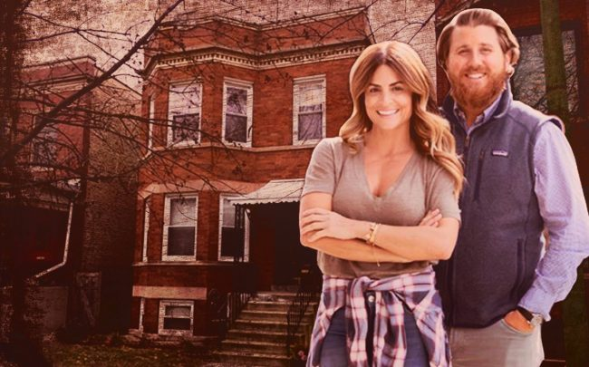 "2308 W. Giddings Street and ""Windy City Rehab"" stars Alison Victoria and Donovan Eckhardt (Credit: HGTV)"