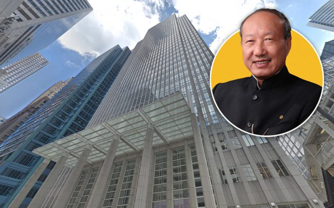 181 W. Madison St. and HNA Group Founder Chen Feng (Credit: Google Maps)