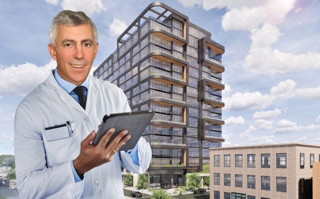 Trammell Crow CEO Matt Khourie and a rendering of Fulton Labs (Credit: iStock)