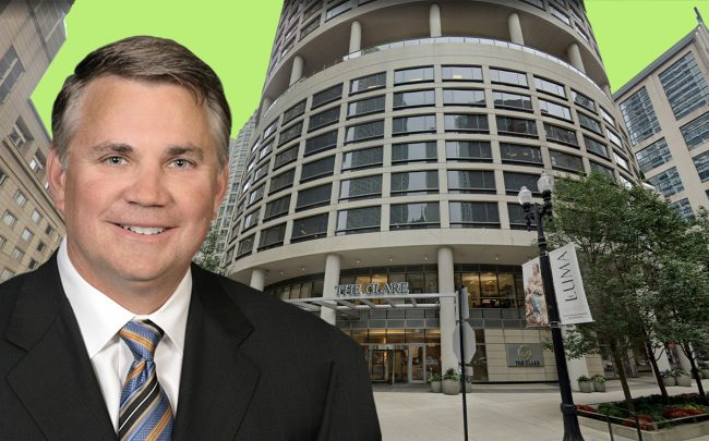 The Clare at 55 E. Pearson St. and LCS CEO Joel Nelson (Credit: Google Maps)