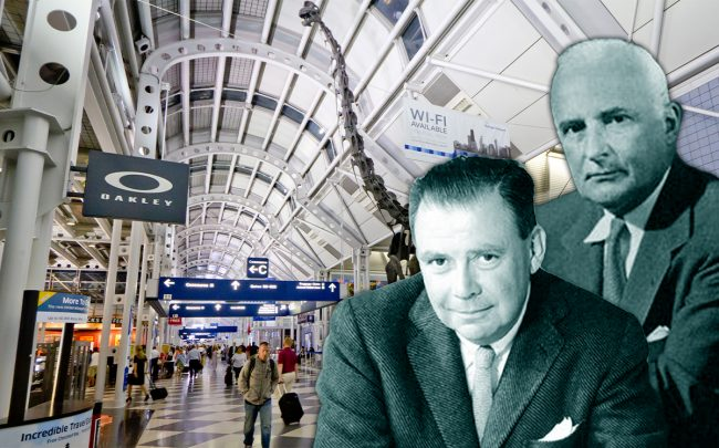 O'Hare International Airport, Skidmore Owings & Merrill founders Nathaniel Owings and Louis Skidmore (Credit: Wikipedia)