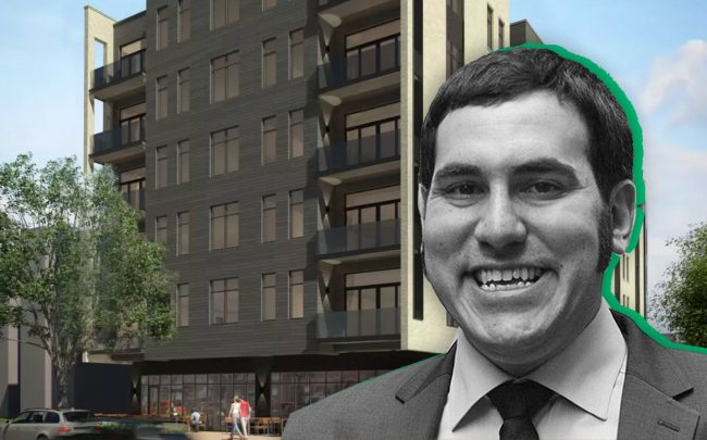 Developer Sam Goldman and an original rendering of the apartment building at 7000 N. Glenwood Ave.
