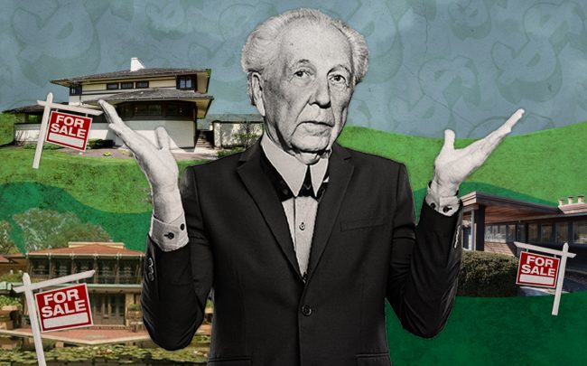ART: Frank Lloyd Wright and (from top) 301 S. Kenilworth Ave., Elmhurst; 239 Franklin Street, Glencoe; and 350 Fairbank Road, Riverside (Credit: Getty Images, iStock)