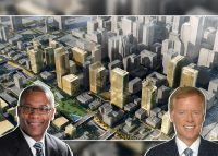 Ald. Walter Burnett Jr. (27th) and Steven Fifield, with a rendering of the project