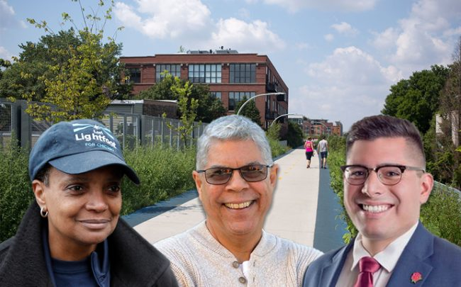 Lori Lightfoot, Alderman Roberto Maldonado (26th) and Alderman Carlos Ramirez-Rosa (35th) with The 606 trail (Credit: Wikipedia and Getty Images)