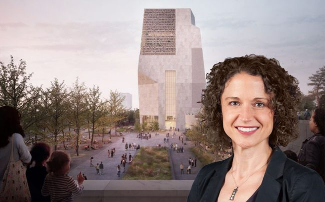 Chicago Housing Commissioner Marisa Novara and a rendering of the proposed Obama Presidential Center (Credit: The City of Chicago and the Obama Foundation)