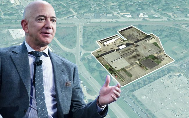 Amazon CEO Jeff Bezos and 315 S. Hicks Road in Palatine (Credit: Getty Images, Google Maps)