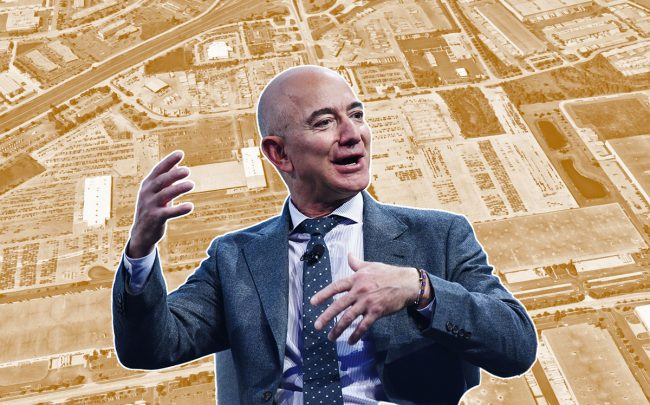 The Bolingbrook property along route 53 and Amazon CEO Jeff Bezos (Credit: Google Maps, Getty Images)