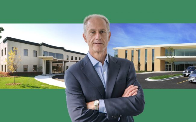 HSA Commercial Real Estate CEO Bob Smietana with the Lemont Medical Office Building and Advocate Good Samaritan South Campus (Credit: HSA)