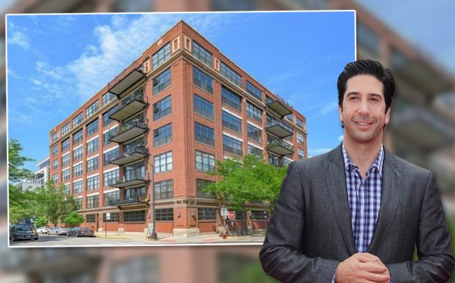 David Schwimmer and The Lofts at 850 West Adams Street (Credit: Getty Images and Realtor)