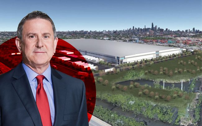 A rendering of the Target warehouse at 3501 S. Pulaski Road and Target CEO Brian Cornell (Credit: Hilco Redevelopment, Target)