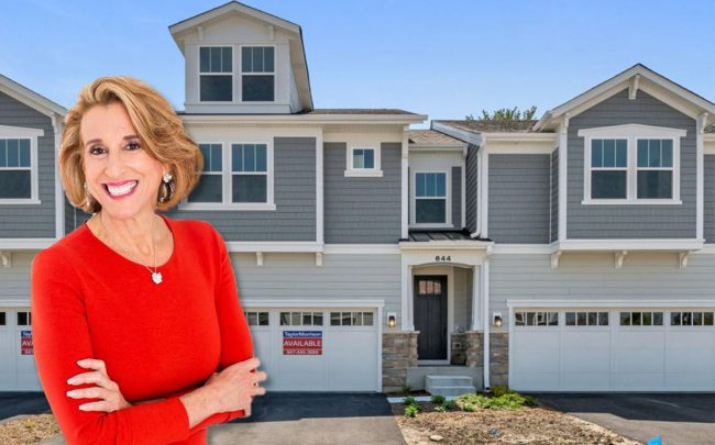 Chairman and CEO of Taylor Morrison Sheryl Palmer and Townhouses at Riverbank Crossing in Geneva