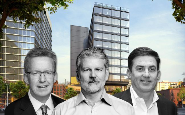 From left: CEO and founder of CA Ventures Thomas Scott, CEOs of WeWork Sebastian Gunningham and Artie Minson, and a rendering of the building