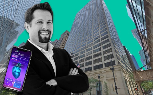 Founder and CEO of Level Ex Sam Glassenberg and 180 North LaSalle St. (Credit: Google Maps)