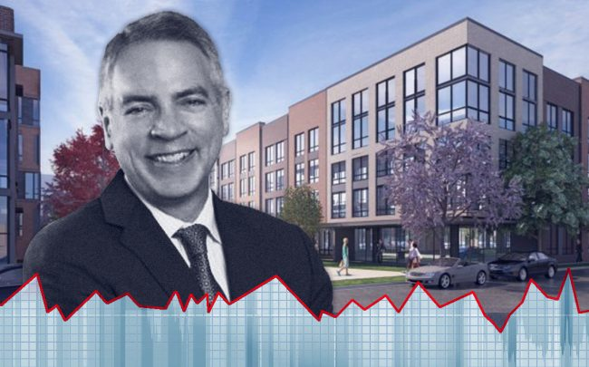 Chicago Community Loan Fund Chief Operating Officer Bob Tucker and a rendering of Ogden Commons