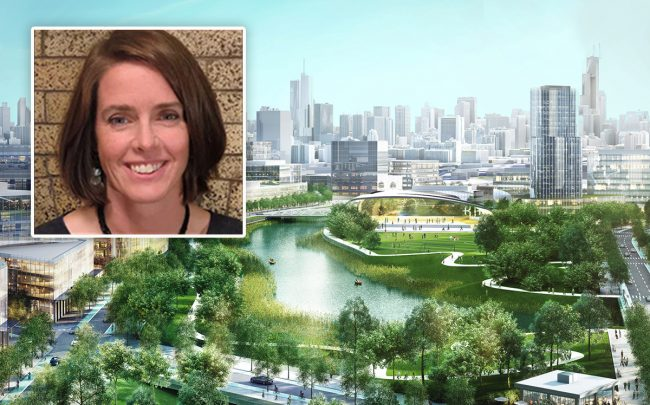 Johnson Research Group president Ann Moroney and a rendering of Lincoln Yards