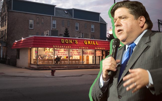 Illinois Gov. J.B. Pritzker and Don's Grill in the Pilsen neighborhood in Chicago (Credit: Scott Olson/Getty Images; Paul Natkin/Getty Images)