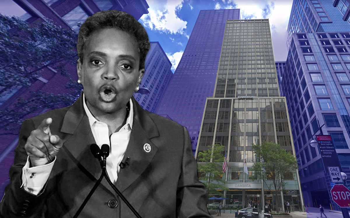 Mayor Lori Lightfoot & Hotel One Sixty-Six Magnificent Mile at 166 E. Superior St. (Credit: KAMIL KRZACZYNSKI/AFP via Getty Images, Google Maps)