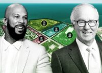 US Steel's sprawling South Works site is about the size of Downtown Chicago. At left, Common, who wants to partner with developers on a mixed-use entertainment district there, and Dan McCaffery, whose vision for a 13,000-home community fizzled out. (Credit: Common by Paras Griffin/Getty Images; McCaffery via McCaffery Interests; aerial by Cushman & Wakefield)
