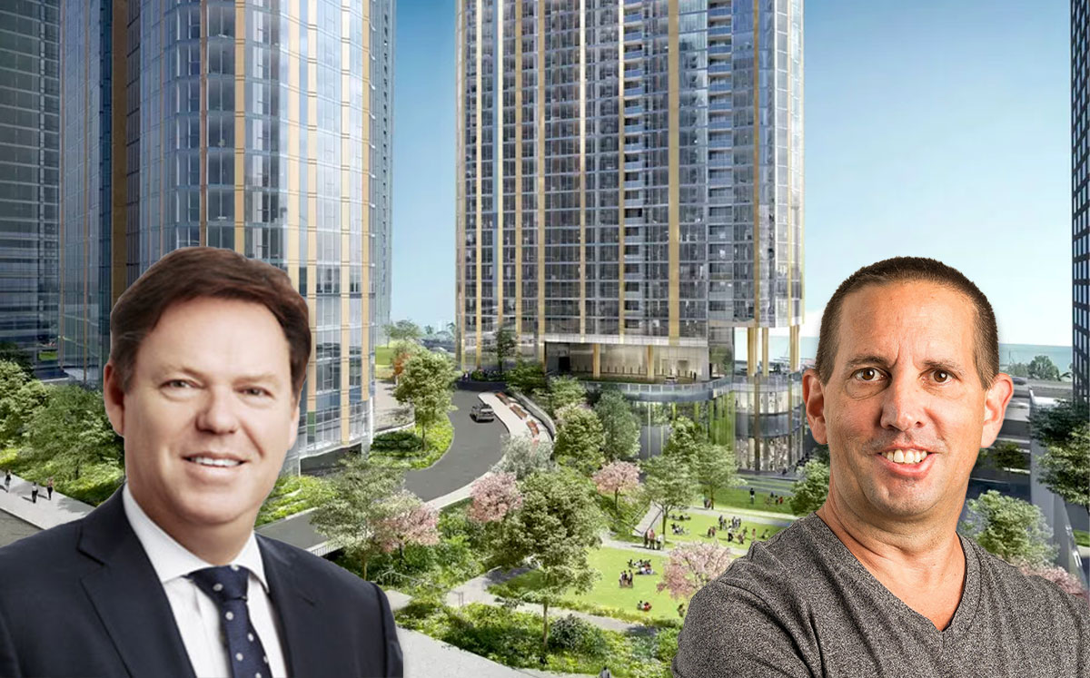 From left: Lendlease CEO Steve McCann, and Magellan CEO David Carlins, with a rendering of the Cirrus and Cascade projects (Credit: Lendlease/Magellan/bKL Architecture via Curbed)