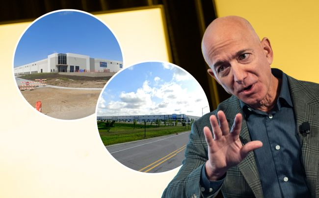 Amazon CEO Jeff Bezos with 4306 120th Ave. in Kenosha and 23700 W. Bluff Road in Channahon (Credit: Getty Images; Google Maps)