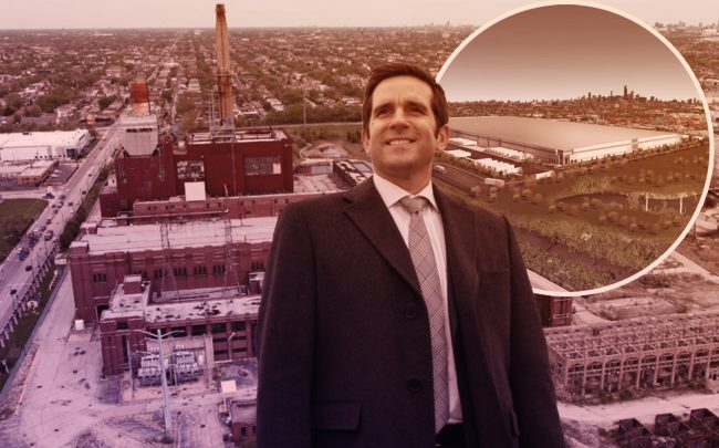 """Hilco Redevelopment Partners' Roberto Perez and a rendering of the """"Exchange 55"""" project on the Near Southwest Side with the former Crawford Power Generating Station (Credit: Hilco)"""