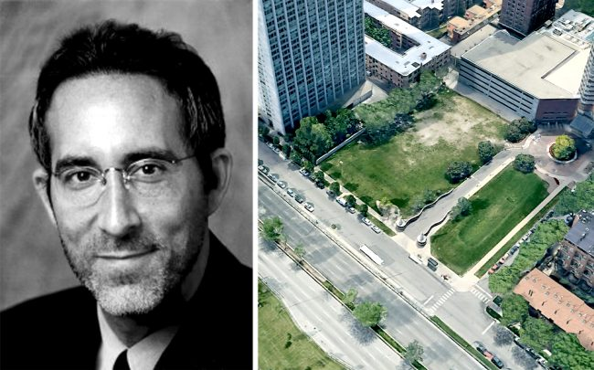 Developer Jonathan Holtzman and the site at the corner of Lake Shore Drive and Waveland Avenue (Credit: Google Maps)
