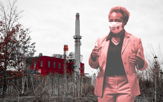 Mayor Lori Lightfoot and the former Crawford Coal Plant (Credit: Lightfoot by Tyler LaRiviere - Pool/Getty Images; background by Edna Winti via Flickr)