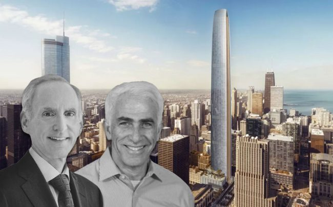 Golub CEO Michael Newman and CIM Group co-founder Shaul Kuba with Tribune Tower East rendering. (Credit: Golub/CIM Group via Crains)