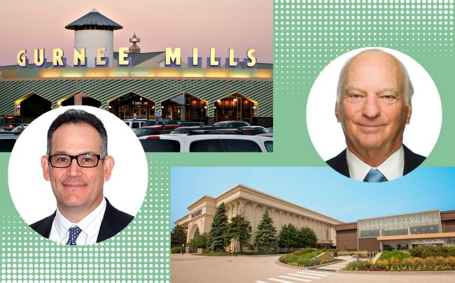 Simon Property CEO David Simon and Gurnee Mills, and KKR co-CEO George Roberts and Yorktown Center (Getty, Wikipedia, KKR, Yorktown Center)