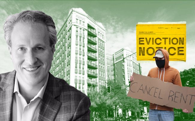 Antheus Capital principal David Gefsky and East Park Tower. Mac Properties, which is Antheus' property management arm, has moved ahead with eviction proceedings, including at East Park Tower. (Credit: LinkedIn; Mac Properties; Scott Olson/Getty Images)