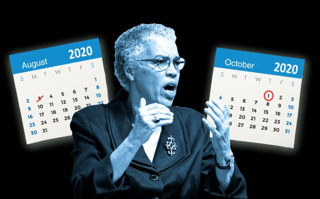 Cook County Board President Toni Preckwinkle said homeowners will be given a two-month reprieve on late-payment interest penalties. (Preckwinkle by KAMIL KRZACZYNSKI/AFP via Getty Images; iStock)