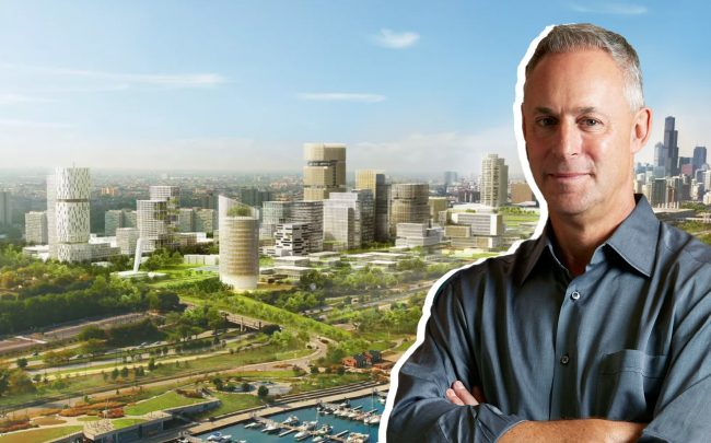 Farpoint's Scott Goodman and a rendering of the former Michael Reese hospital site (Credit: Farpoint; SOM)