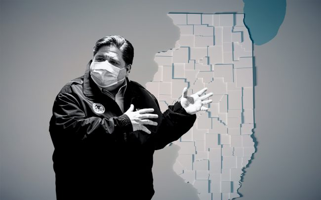 Gov. J.B. Pritzker's five-point plan to reopen the state's economy includes a broader range of businesses in Phase 3. (Credit: Pritzker by Tyler LaRiviere - Pool/Getty Images; iStock)