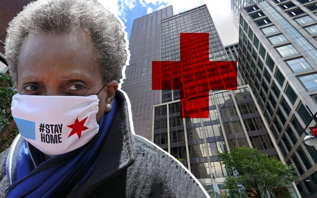 Mayor Lori Lightfoot and Hotel 166, which is among the five hotels housing frontline workers and coronavirus patients through a program the city is funding. (Credit: Getty Images; Google Maps)
