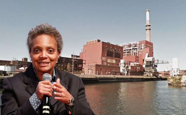 Chicago Mayor Lori Lightfoot and the power plant (Credit: KAMIL KRZACZYNSKI/AFP via Getty Images, and Google Maps)