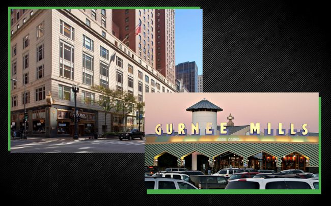 A new report in Trepp found delinquency rates have jumped for Chicago area hotels and retailers. From left, Palmer House Hilton and Gurnee Mills mall. (Wikipedia Commons)