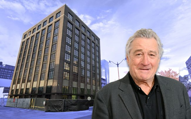 The Robert De Niro and the Nobu Hotel in Fulton Market, which will open July 1. (Credit: Andrew Toth/Getty Images, and Google Maps)