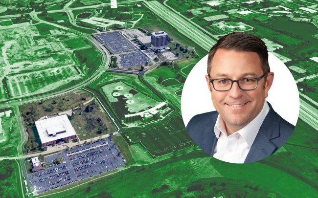 Motorola Solutions-occupied office complex at 2000 and 2100 (left) Progress Parkway in Schaumburg and Stonemont Financial CEO Zack Markwell (Google Maps, Stonemont)