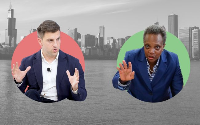 Airbnb CEO Brian Chesky and Mayor Lori Lightfoot (Getty)
