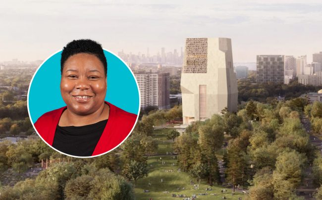 Alderman Jeanette Taylor and a rendering of Obama Presidential Center