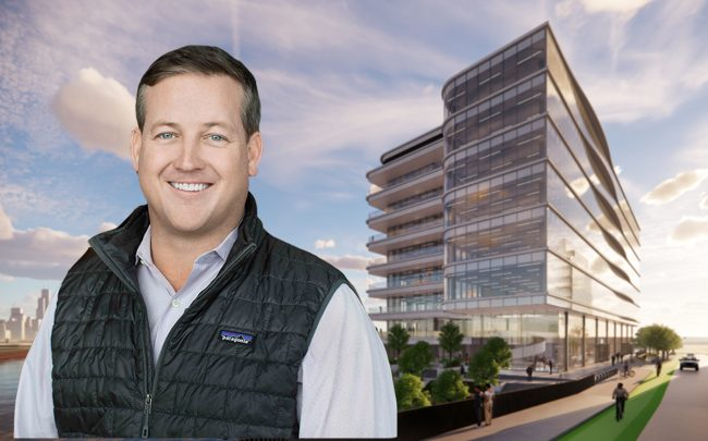 Sterling Bay CEO Andy Gloor and a rendering of facility (Sterling Bay/Gensler)