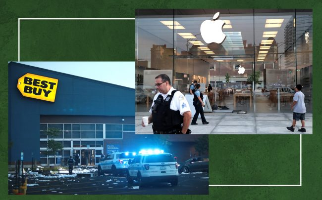 Dozens of stores were looted and vandalized during violence that swept through Mag Mile early Monday morning. (Photos by Scott Olson/Getty Images)